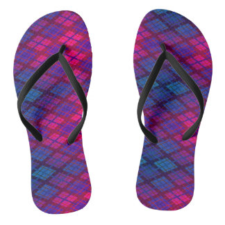 Crimson blue funky plaid thongs