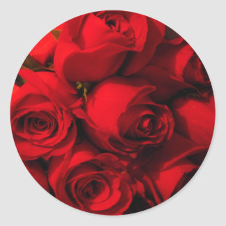 """Crimson Bouquet"" Classic Round Sticker"