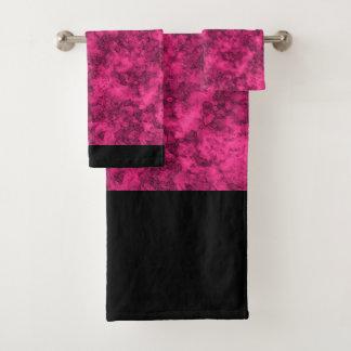 Crimson bright marble pattern bath towel set