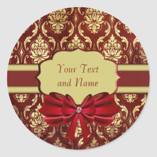Crimson Brocade Personal Labels Round Sticker