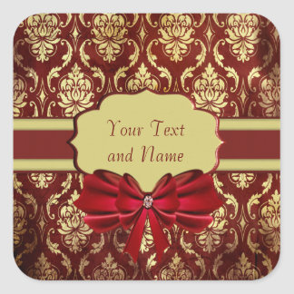 Crimson Brocade Personal Square Labels Square Sticker