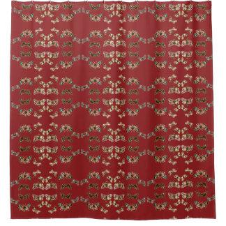 Crimson Butterfly Wave Shower Curtain