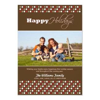Crimson/Chocolate Polkadots Family Holiday Card