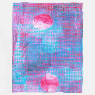 Crimson Clover Abstract Art Circles Grid Pink Blue Fleece Blanket