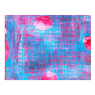 Crimson Clover Abstract Art Fuschia Pink Blue Postcard