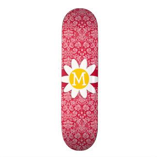 Crimson Damask Pattern Daisy Skate Boards