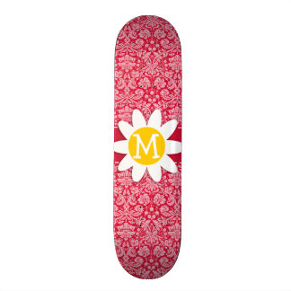Crimson Damask Pattern; Daisy Skate Boards