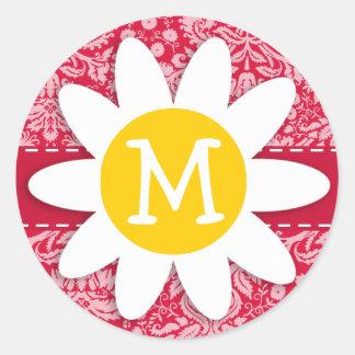 Crimson Damask Pattern; Daisy Round Stickers