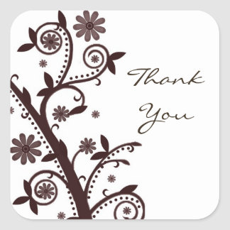 Crimson Floral Swirl Thank You Sticker