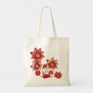 Crimson Flower Girl Tote Bag