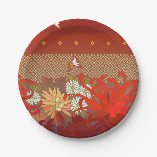 Crimson Flowers Paper Plate Small