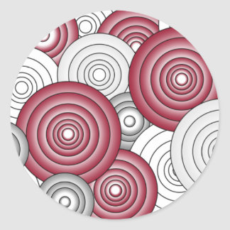 Crimson & Gray Circles Sticker