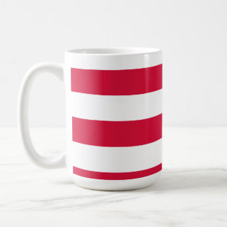 Crimson Horizontal Stripes; Striped Basic White Mug