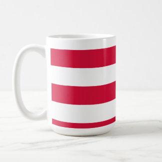 Crimson Horizontal Stripes; Striped Basic White Mug