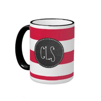 Crimson Horizontal Stripes; Striped Ringer Mug