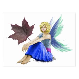 Crimson King Maple Tree Fairy with Leaf Postcard