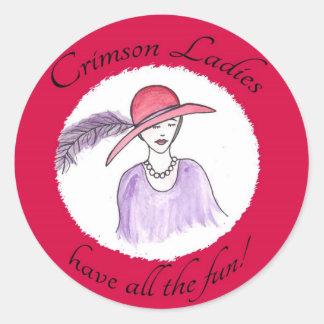 Crimson Ladies Have all the Fun Round Sticker