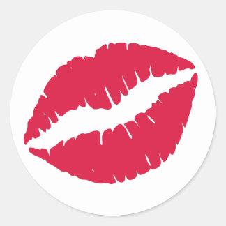 Crimson Lipstick Print Round Sticker