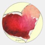 Crimson Love Hearts Envelope Seals Round Stickers