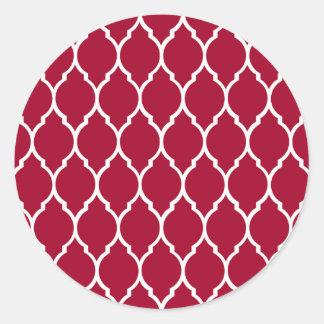 Crimson Modern Quatrefoil Pattern Round Sticker