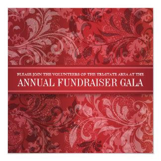 Crimson Paisley Swirl Event 5.25x5.25 Square Paper Invitation Card