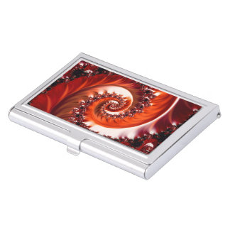 Crimson Passion Fractal Spiral, Heart of the Rose Business Card Holder