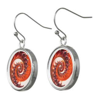 Crimson Passion Fractal Spiral, Heart of the Rose Earrings