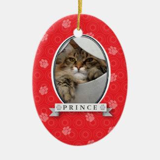 Crimson Paw Print Pet Ornament