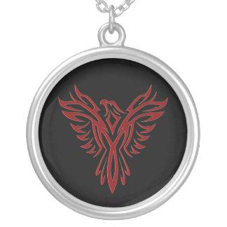 Crimson Phoenix Rising Round Pendant Necklace