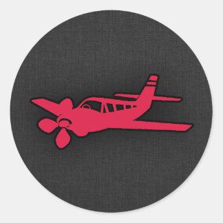 Crimson Red Airplane Round Sticker