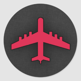 Crimson Red Airplane Round Sticker