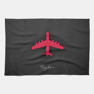 Crimson Red Airplane Towels