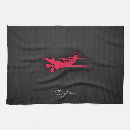 Crimson Red Airplane Hand Towels