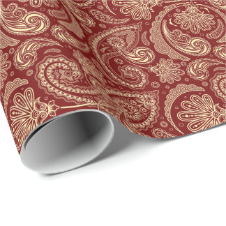 Crimson Red And Beige Creme Vintage Paisley