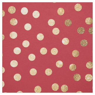 Crimson Red and Gold Glitter City Dots Fabric