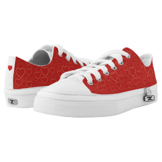 Crimson red and golden hearts cute girly Valentine Printed Shoes