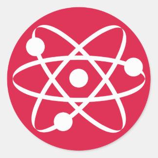Crimson Red Atom Round Sticker