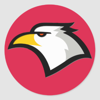 Crimson Red Bald Eagle Round Stickers