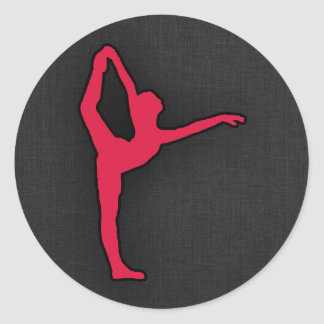 Crimson Red Ballet Dancer Round Sticker