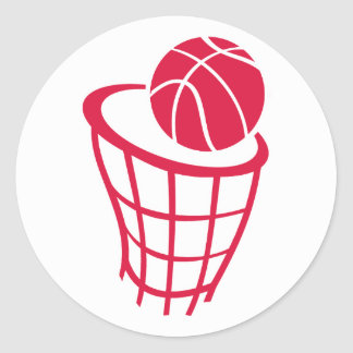 Crimson Red Basketball Round Sticker