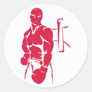 Crimson Red Boxing Round Sticker