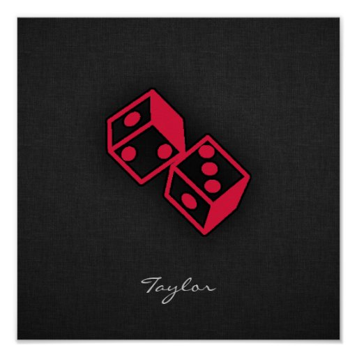 Crimson Red Casino Dice Print