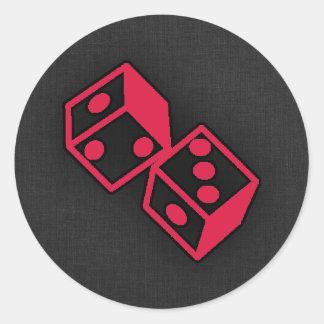 Crimson Red Casino Dice Round Sticker