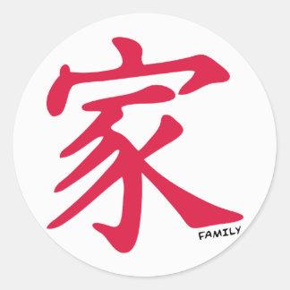 Crimson Red Chinese Family Round Sticker