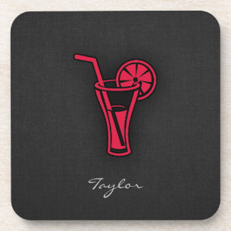 Crimson Red Cocktail Drink Coasters