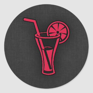 Crimson Red Cocktail Round Sticker