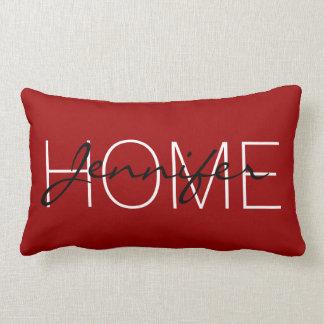 Crimson red colour home monogram lumbar cushion
