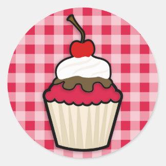 Crimson Red Cupcake Round Sticker