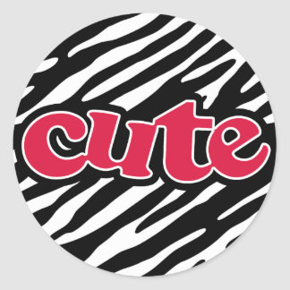 Crimson Red Cute Zebra Round Sticker