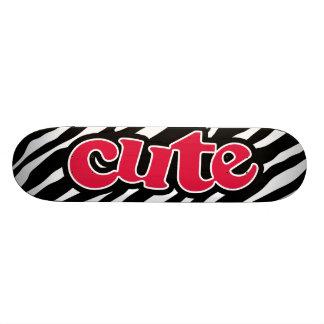 Crimson Red Cute Zebra Skate Board